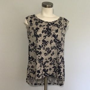 St. Tropez Sleeveless Linen Top Gray Navy Floral L